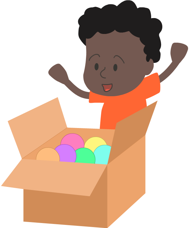 Boy opening box of balls